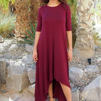Swept Away Burgundy Red High-Low Maxi Dress