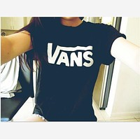 """Vans""Fashion short sleeve leisure T-shirt top Black"