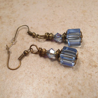Light Blue Drop Earrings Made with Swarovski Crystals and Glass Cube Beads Antiqued Bronze Womens Formal Vintage Style Glitz Glam Sparkle