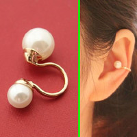 Double Pearls Ear Bone Ear Cuff (Reversible, Single, No Piercing)