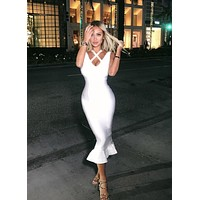 Trisha White Fishtail Elegant Midi dress