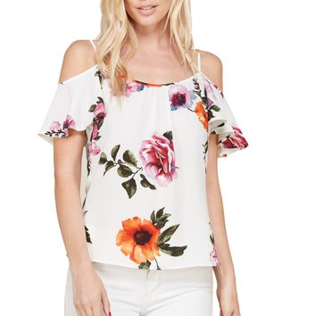Short Sleeves Open Shoulder Flounce Layers Floral Blouse Top