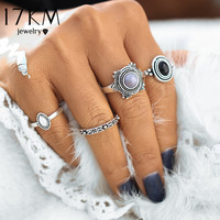 17KM 4 PCS Set Fashion Vintage Bohemian Turkish Midi Ring Set Steampunk Round Ring Knuckle Rings Women Anel Joint Ring