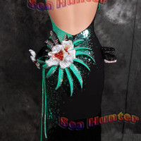 Ballroom Latin Ramba Rhythm Samba UK8/US6 Dance Dress#L2641Black/ Green Fringes