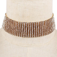 """15"""" crystal 10 lines collar choker necklace 1.20"""" wide bridal prom"""