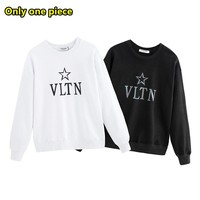 VALENTINO simple casual loose reflective letter LOGO print sweater