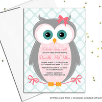 Owl baby shower Invitations for girls - girl baby shower invite with owl - pink and aqua - baby shower themes - printable or printed (784)
