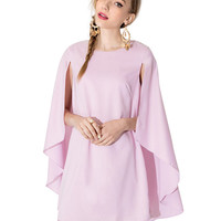 Pink Round Neckline Cape Dress
