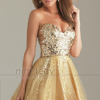 Stock Sequins Gold Bridesmaid Prom Party Ball Evening Homecoming Dress Size 6-16
