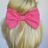 Hair Bow Clip - Hot Pink