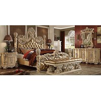 Wood carving European Style Luxury King Bed