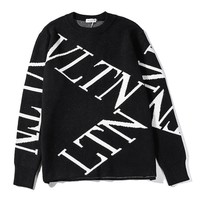 Valentino Fashion new black cross letter long sleeve sweater