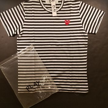 cc hcxx CDG Comme des Garcons Play Stripped Tee