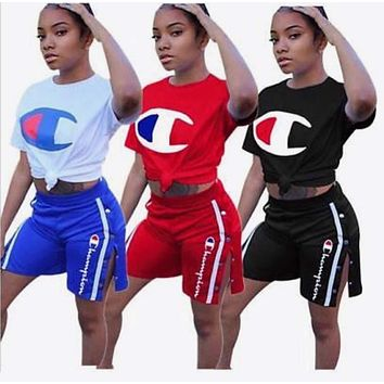 Champion 2018 new women's slim sexy classic letter print sports two-piece F0794-1