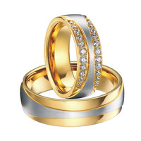2016 luxury 18k gold plated titanium jewelry engagement wedding bands promise eternity rings sets for men and women alliances anel