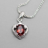 Lovely Heart Red Garnet Sliver Necklace, Garnet Pendant, November Birthstone, Birthdays, Wedding, Valentine, Anniversaries, Gift for Mom