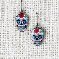 Rose Sugar Skull Earrings