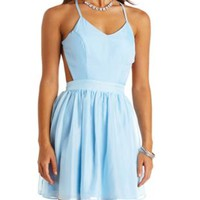Neon Strappy Backless Chiffon Dress by Charlotte Russe - Ice Blue