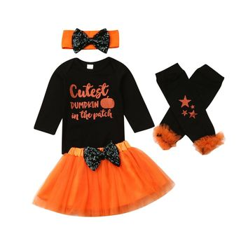 US Newborn Baby Girl Clothes Cotton Romper Top Skirt Socks 4Pcs Halloween Outfit