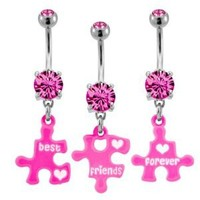 """316L Surgical Steel Pink Prong Set with 3 Piece Broken Best Friends Forever Puzzle -14g (1.6mm), 3/8"""" Length - Sold as a Set: Jewelry: Amazon.com"""