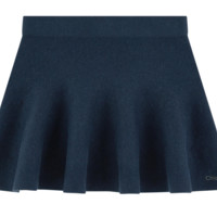 Girls Navy Blue Short Wool Skirt