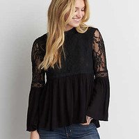 AEO Hi-Neck Mesh Lace Top , True Black
