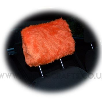 Tangerine Orange fluffy faux fur car headrest covers 1 pair