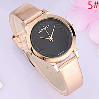 Versace Fashion New Dial Letter Leather Watchband Women Men Watch Wristwatch