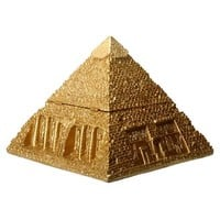 Pyramid of Giza Hinged Treasure Box Golden Wonder of Ancient World 5.5H