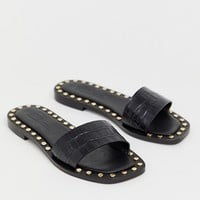 ASOS DESIGN Foxhill premium studded flat leather sandals at asos.com