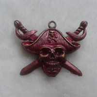 Pirates of the Caribbean pink blended mixed skull with swords  bronze   brooch  pin
