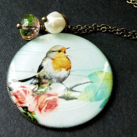 Song Bird Necklace in Bronze with Yellow Pink Crystal and Fresh Water Pearl. Handmade Jewelry.