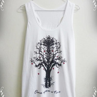 Unisex Men Women tank top size S M L white family tree Once upon a time tree of life shirt singlet sleeveless