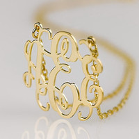 Golden monogram necklace 1.5 inch personalized monogram jewelry initial name pendant necklace