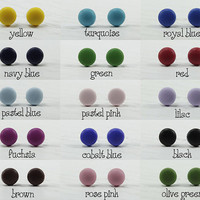 Set of 10 - Choose Your Colors - Small Stud Earrings - Matte Colors - Everyday Wear Studs - Simple Cute Post Earrings - Stainless Steel Post