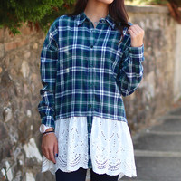 Lace + Plaid Flannel Tunic {Hunter Green}
