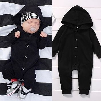 Toddler Infant Newborn Baby Boy Clothing Romper Long Sleeve Black Jumpsuit Playsuit Clothes Outfits 0-24M