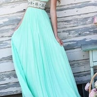 Light Blue Printed Backless Cut Out Halter Maxi Dress