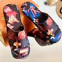 Onewel Lv Louis Vuitton slippers light non-slip J gradient color printed sandals black colorful blue red print Shoes