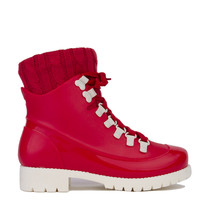 Lace-Up Knit Cuff Rubber Boots - Red