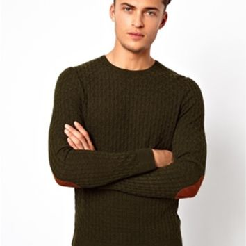 ASOS Cable Sweater with Elbow Patches - Green