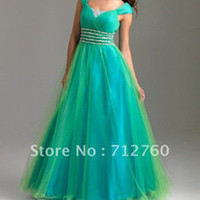 Free Shipping - New Cheap Beautiful Cap Sleeve Ruched Long Turquoise Modest Prom Gown