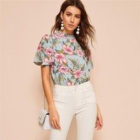 Floral Print Butterfly Sleeve Top Blouse Women Stand Collar Butterfly Sleeve Arabian Elegant Tops Blouses
