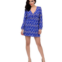 Royal Blue & White Anchor Long Sleeve Nautical Fit & Flare Dress