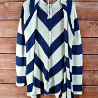 Independent Womens Open Chevron Knit Cardigan Sweater Long Navy Blue