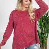 Mineral Washed Sweatshirt | Red