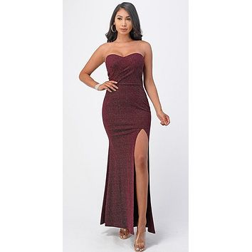 Long Fitted Sheath Burgundy Party Dress Strapless With Slit