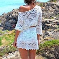 Amazon.com: creaby Womens Sexy Crochet Hollow Out Beach Bikini Cover Up Dress With Belt Whit...
