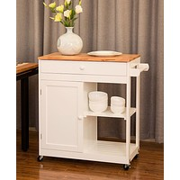 Rolling Kitchen Island with Storage Drawer,Shelves & Cabinet Furniture Cart with Towel Bar
