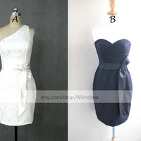 One-shoulder/ Sweetheart Mismatch Lace Short Bridesmaid Dress/ Cocktail Dress/Short Lace Prom Dress/ Homecoming Dress With Sash
